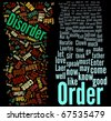 Order and Disorder word clouds on black - stock photo