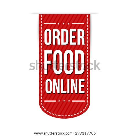 Order food online banner design over a white background, vector illustration - stock vector