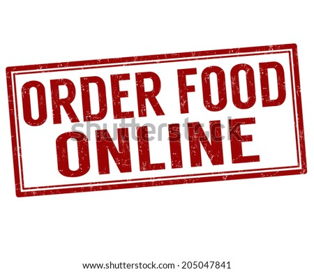 Order food online grunge rubber stamp on white, vector illustration