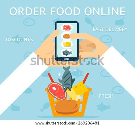 Order food online. Network and delivery, buy and retail, business concept, vector illustration - stock vector