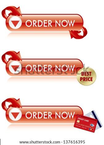 Order Now Button - stock vector