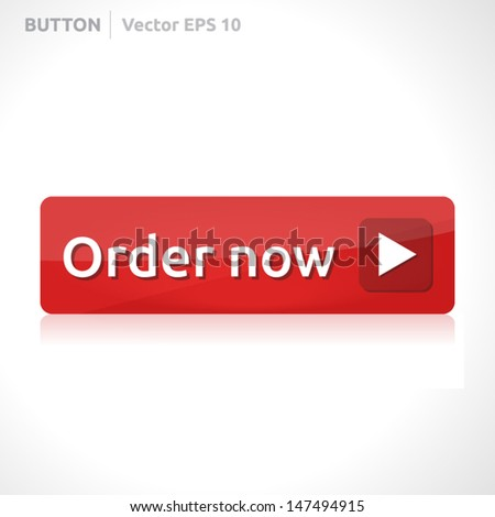 Order now button template | vector design eps | business banner with symbol icon | website element | web red - stock vector