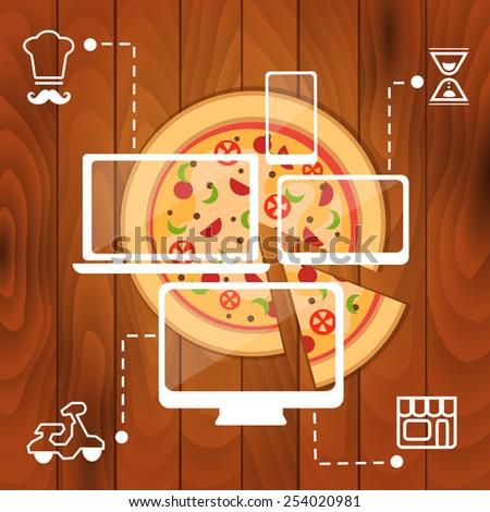 order pizza online - stock vector