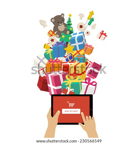 Ordering christmas gifts online - christmas gifts and objects flying into tablet - modern technology and christmas illustration in flat design style on white background  - stock vector