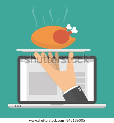 Ordering food online concept. Hand holding silver serving tray with a hot roasted or grilled chicken on it on a laptop display. Flat style - stock vector