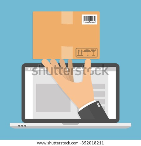 Ordering online and delivery concept. Hand holding cardboard package on a laptop screen. Flat style - stock vector