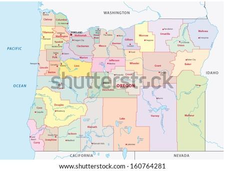oregon administrative map - stock vector