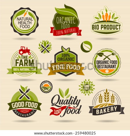 Organic and Ecology Web Icon and logo Set. Eco Logo Organic Food Label and Element Set easy editable for Your design. - stock vector