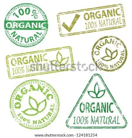 Organic and natural food. Rubber stamp vector illustrations
