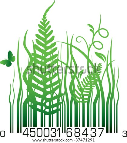 Organic barcode - stock vector