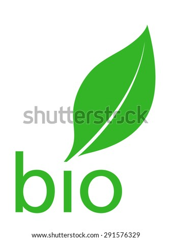 Organic bio green leaf logo design with the silhouette of a single fresh green leaf above the lowercase text - organic over a white background, classic simple clean vector illustration - stock vector