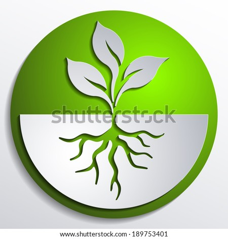 organic button, ecological topic icon, roots tree seedling sprout logo - stock vector