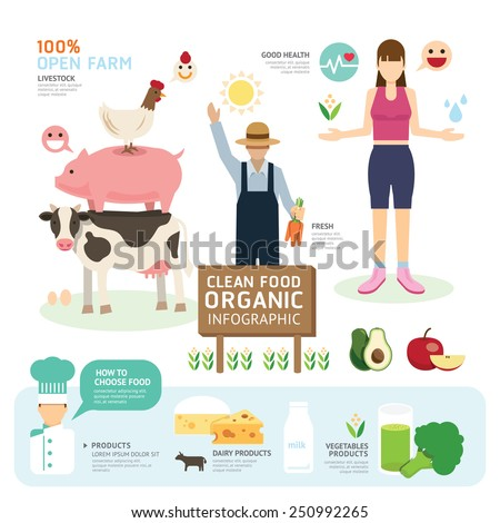 Organic Clean Foods Good Health Template Design Infographic. Concept Vector Illustration - stock vector