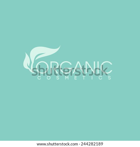 Organic cosmetics logo design vector template. Green leaf icon - stock vector