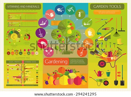 Organic cultivation of fruit trees. Stages of care by plants. Garden tools. The content of microelements in the fruits of fruit trees. - stock vector