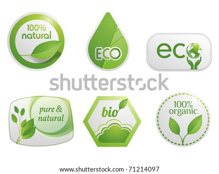 Organic eco and bio labels - stock vector