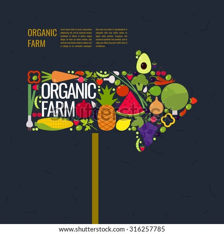 Organic farm. Arrow marker. Fruits and vegetables. Elements for cards, illustration, poster and web design. - stock vector