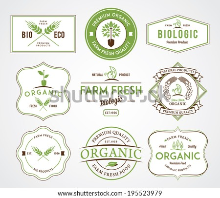 Organic farm fresh badges - stock vector