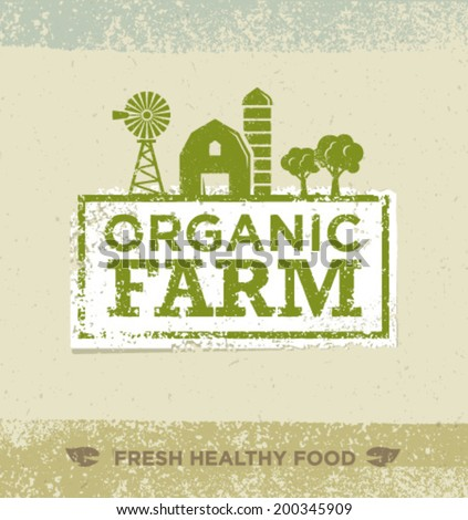 Organic Farm Fresh Healthy Food Eco Green Vector Concept on Paper Background. - stock vector