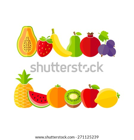 Organic farm fruits illustration in flat style - stock vector