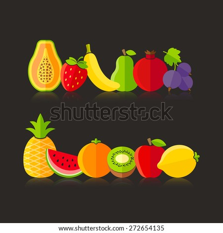 Organic farm fruits illustration in flat style on black background - stock vector