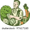 Organic Farmer Green Grocer With Vegetables Retro - stock vector