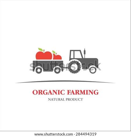 Organic farming apple - stock vector
