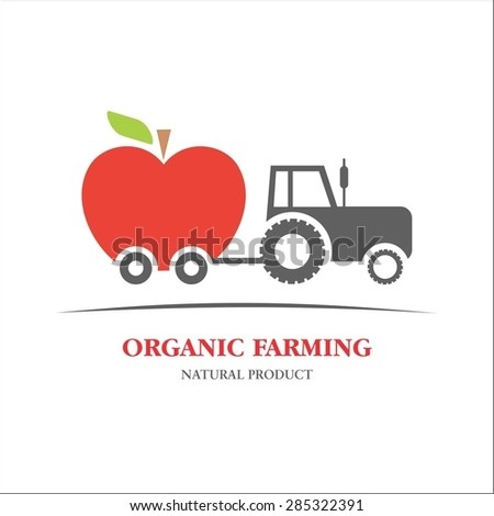 Organic farming apple - stock vector