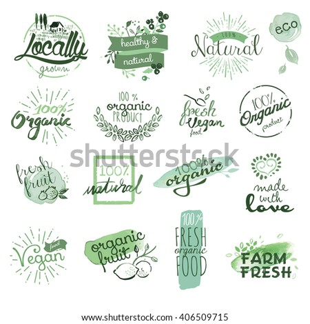 Organic food badges and elements. Hand drawn watercolor vector illustration set for food and drink, restaurant, natural products. - stock vector