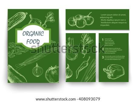 Organic food brochure for design. Vector illustration - stock vector