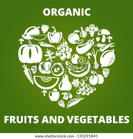 Organic food concept. Heart shape with organic vegetables and fruits icons. Vector illustration - stock vector
