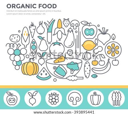 Organic food concept illustration, thin line flat design - stock vector