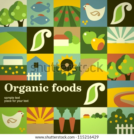 Organic food concept vector background - stock vector
