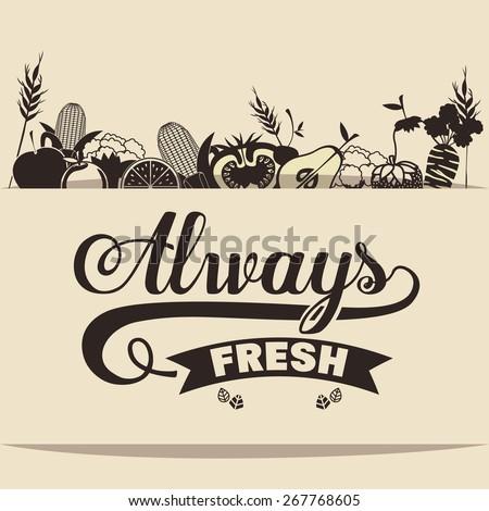 Organic Food design over vintage background, vector illustration - stock vector