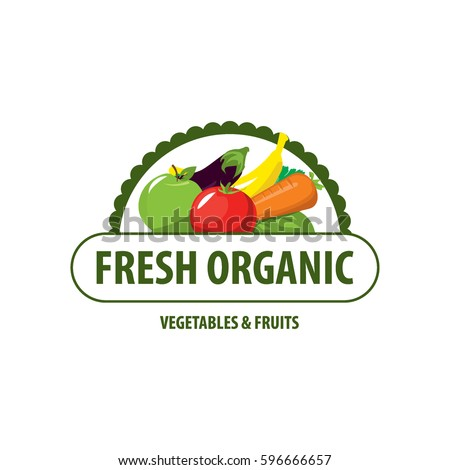 Organic Food Emblem Badge Stock Vector 596666657