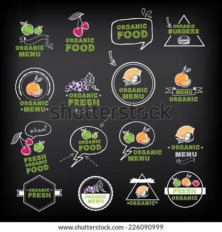 Organic food icons, vegan symbols. Vector illustration. - stock vector