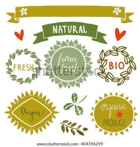 Organic food labels set, bio, eco farm stickers, stamps, icons, logo, frames, card design isolated calligraphic text, handwriting