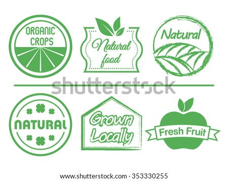 Organic food labels set, vectors