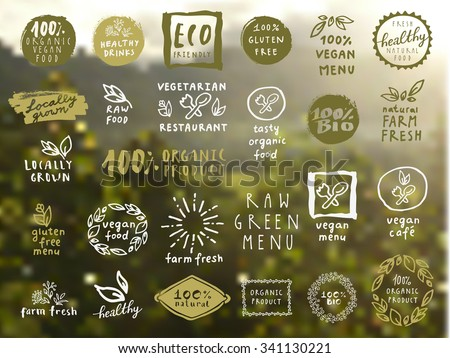 Organic food labels vector set. Fresh healthy food icons. Vintage badges for restaurant menu or food package design on blurred rural background