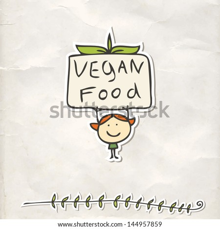 Organic food labels with kid - stock vector