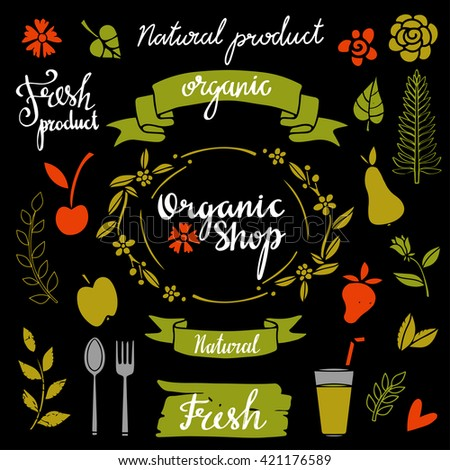 Organic food, natural product icons set, logo, frames, fruits, leaves isolated calligraphic text, hand drawn - stock vector
