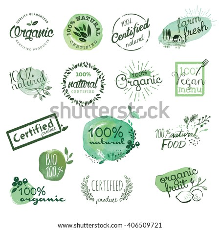 Organic food stickers and elements. Hand drawn watercolor vector illustration set for food and drink, restaurant, natural products. - stock vector