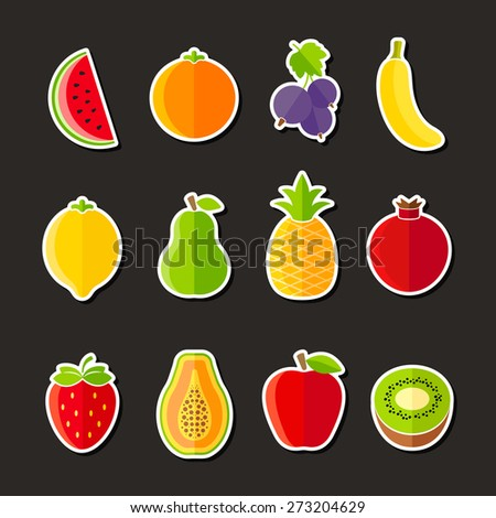 Organic fresh fruits and berries icons flat design on black background - stock vector
