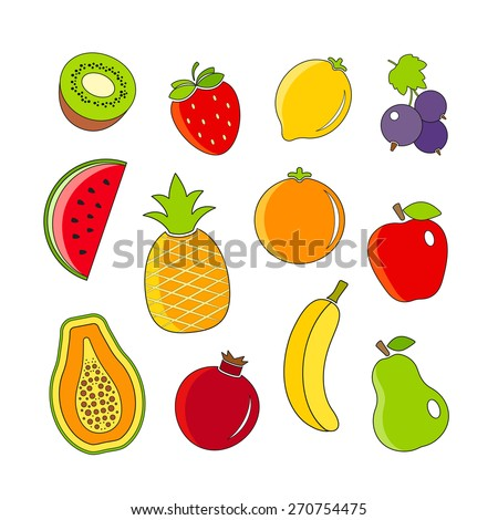 Organic fresh fruits and berries icons outline design. Linear style set - stock vector