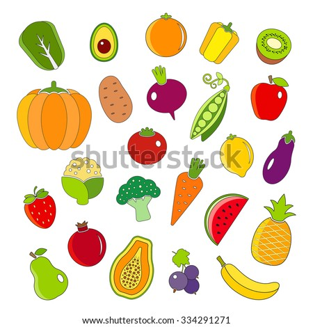 Organic fruits and vegetables outline style icons set - stock vector