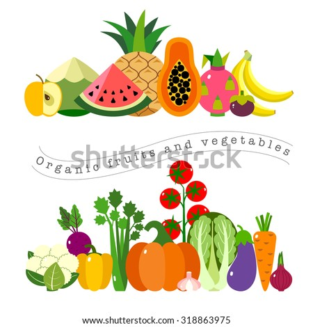 Organic fruits and vegetables template. Vector illustration, set of hand-painted vegetables and fruits. Healthy eating vector concept with flat images - stock vector