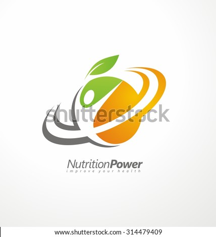 Organic Health Food creative symbol layout. Nutrition and Diet logo design idea. Fruit and vegetable vector sign concept. Abstract shape with human figure in negative space. - stock vector