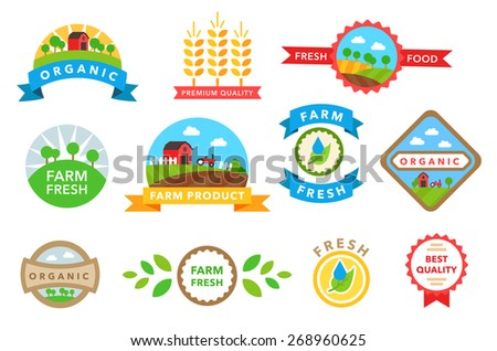 Organic healthy food stickers vector on white - stock vector