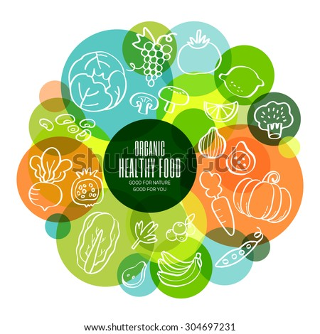 Organic healthy fruits and vegetables conceptual doodles illustration - stock vector