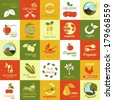Organic Icons Set - Isolated On Background - Vector Illustration, Graphic Design Editable For Your Design - stock vector